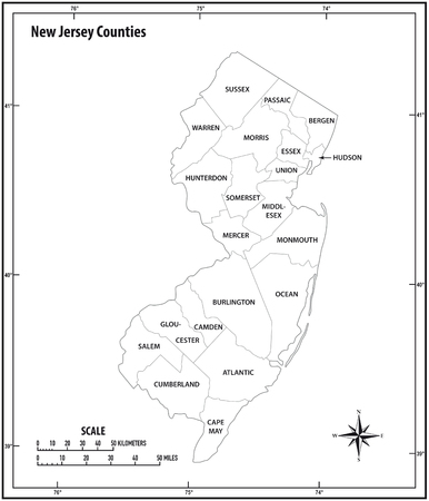 new jersey state outline, administrative and political vector map in black and white