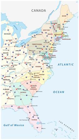 Mapa de vectores de la costa este, Estados Unidos