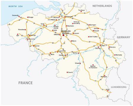 Belgien-Autobahn-Vektorkarte mit Beschriftung