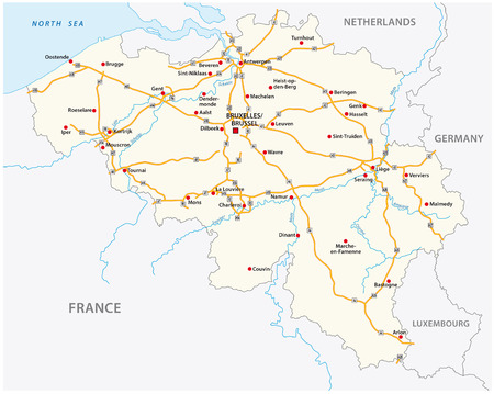 Belgium motorway vector map with labeling Illustration