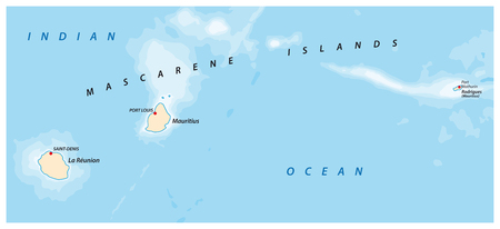 vector map of the Mascarene Islands, Mauritius, Reunion, Rodrigues