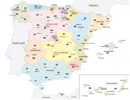 a spain province map with 2-digit zip codes 矢量图像