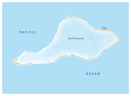 vector map of Moruroa (Mururoa, Mururura) atoll, which belongs to French Polynesia