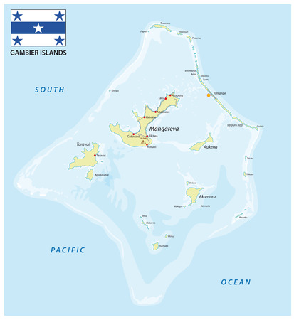 Gambier Islands vector map with flag, French Polynesia