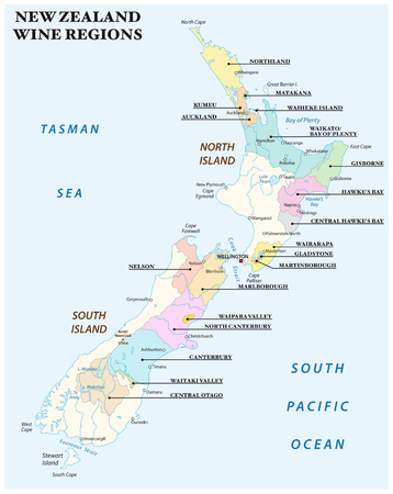 vector map with the most important wine regions of New Zealand 일러스트