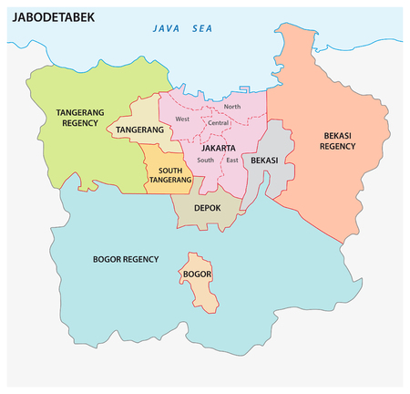 Vector map of the Indonesian megacity (urban area) Jabodetabek 版權商用圖片 - 125482110