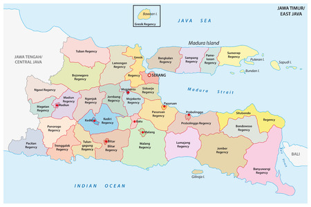 Jawa Timur, East Java administrative and political vector map, Indonesia Illustration