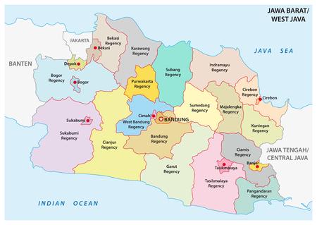 Jawa Barat, mappa vettoriale amministrativa e politica di Giava occidentale, Indonesia