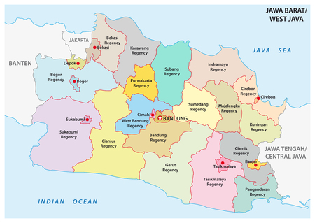 Jawa Barat, West Java administrative and political vector map, Indonesia Иллюстрация
