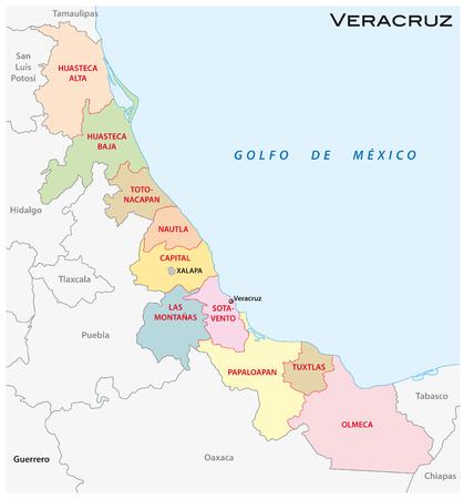 Veracruz administrative and political vector map, Mexico