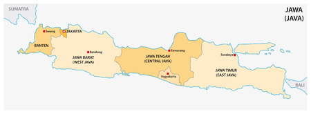 simple administrative and political vector map of indonesian island java Illustration