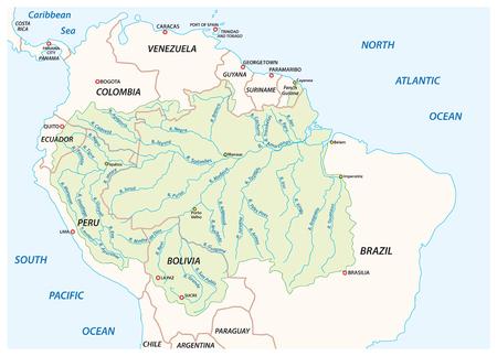 Mapa de vectores de la cuenca hidrográfica del río Amazonas Ilustración de vector