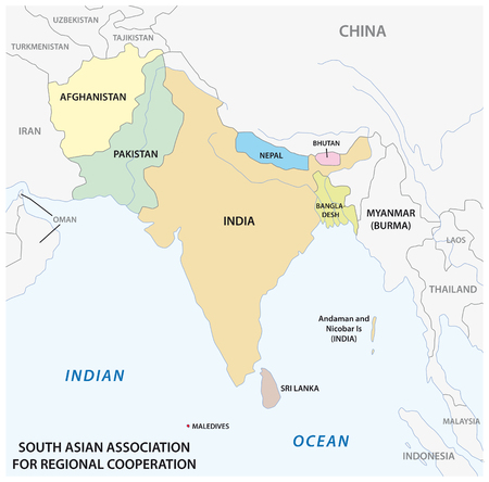 South Asian Association for Regional Cooperation (SAARC) vector map 2
