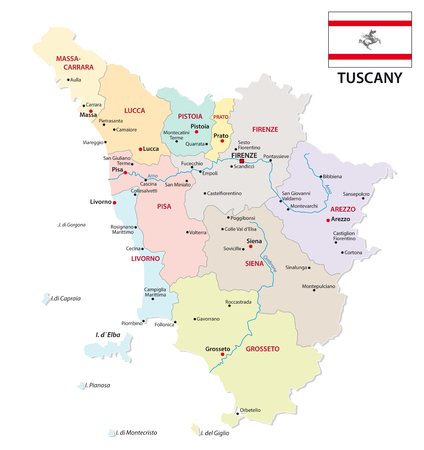 tuscany administrative and political map with flag Imagens - 117797994