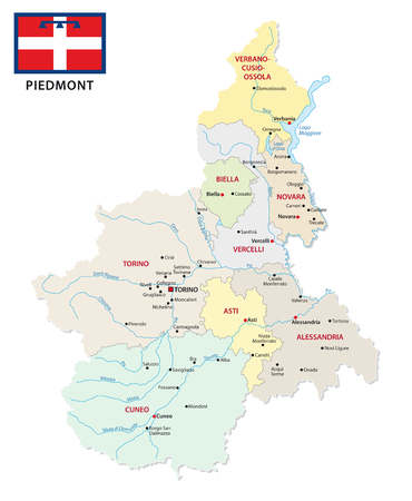 piedmont administrative and political vector map with flag