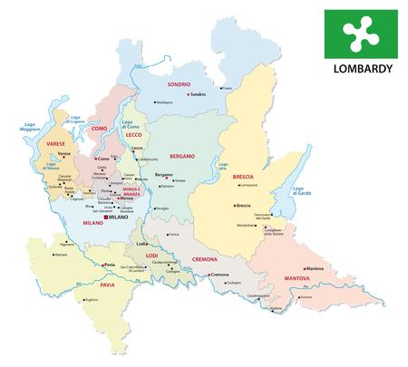 Mapa administrativo y político de Lombardía con bandera.