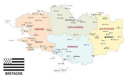 Bretagna politica e amministrativa di mappa vettoriale con flag