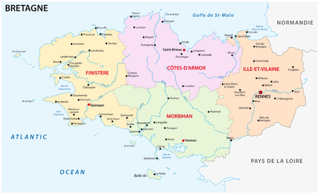 carte vectorielle administrative et politique de la bretagne
