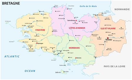 mappa vettoriale amministrativa e politica della bretagna