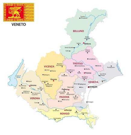 Mapa administrativo y político de Veneto con bandera.