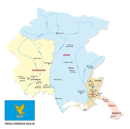 friuli venezia giulia mappa amministrativa e politica con bandiera