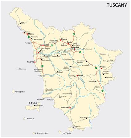 Mappa vettoriale stradale della regione italiana Tuscany Vettoriali