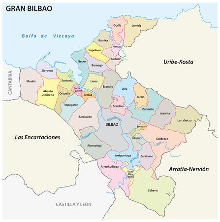 Bilbao metropolitan area administrative and political vector map Stock Vector - 124931488