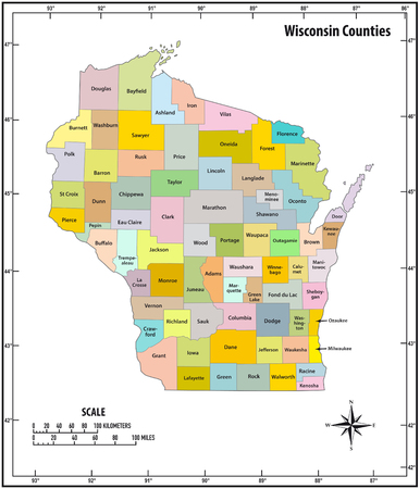 wisconsin state outline administrative and political vector map in color  イラスト・ベクター素材