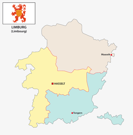 administrative and political vector map of the belgian province Limburg with flag