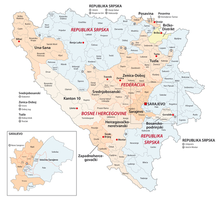 bosnia and herzegovina administrative and political vector map