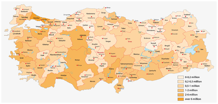Vector population map of the Turkish provinces Ilustração
