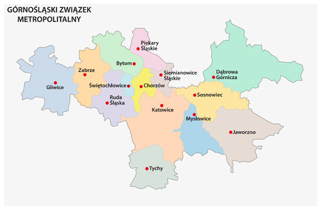 Map of the Metropolitan Association of Upper Silesia and the Dabrowa Basin in Poland Ilustracja