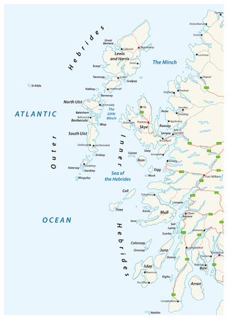vector road map of scottish archipelago hebrides at the north west coast of scotland