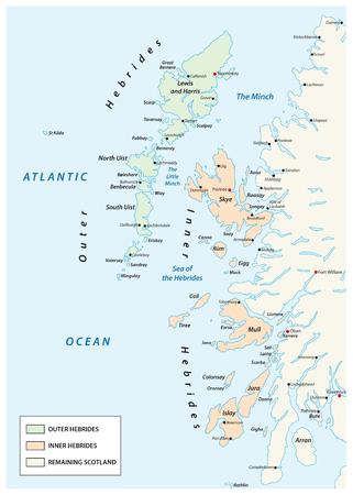 vector map of scottish archipelago hebrides at the north west coast of scotland