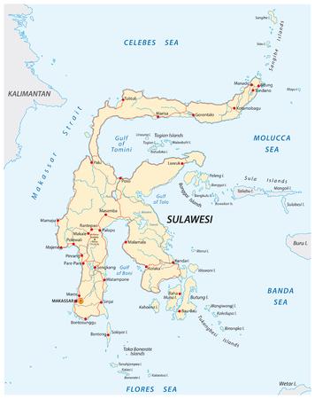 vector roads map of indonesian island sulawesi 向量圖像