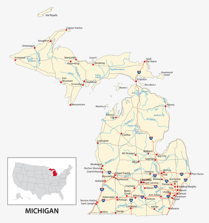 road map of the US American State of michigan 向量圖像
