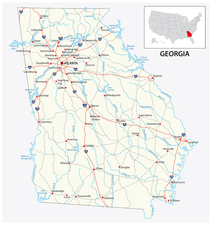 road map of the US American State of georgia