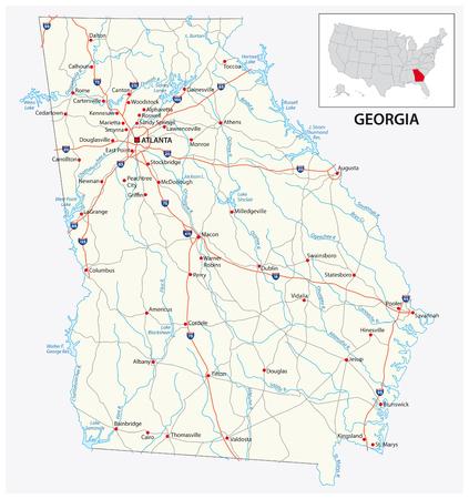 Straßenkarte des US-amerikanischen Bundesstaates Georgia