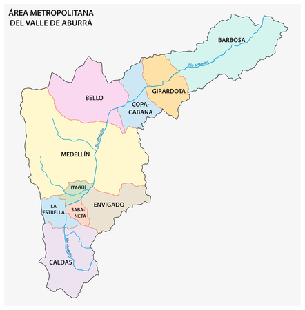 Administrative and political map of the Colombian Metropolitan Area of the Aburra Valley