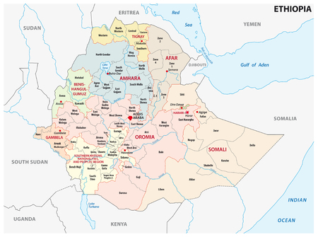 Ethiopia administrative and political map Banco de Imagens - 123430654