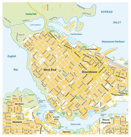 Detailed street map of downtown Vancouver British Columbia Canada
