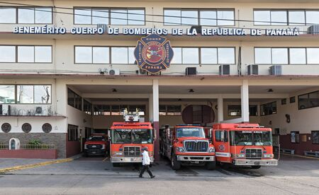 red fire trucks in front of the ricardo arango fire station in panama city
