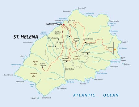 Map of british island St Helena in the Atlantic Ocean  イラスト・ベクター素材