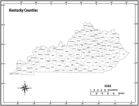 Kentucky state outline administrative and political vector map in black and white Illustration