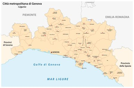 administrative and political map of the metropolitan city of Genoa in the region of Liguria Italy 일러스트