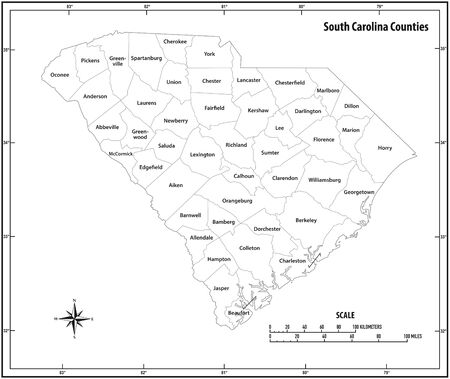 South Carolina state outline administrative and political map in black and white  イラスト・ベクター素材