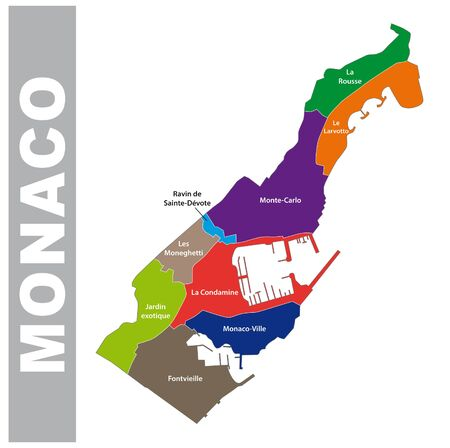 Colorful Principality of Monaco administrative and political map