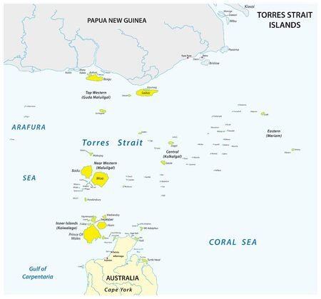 Map of the Australian Torres Strait Islands 向量圖像