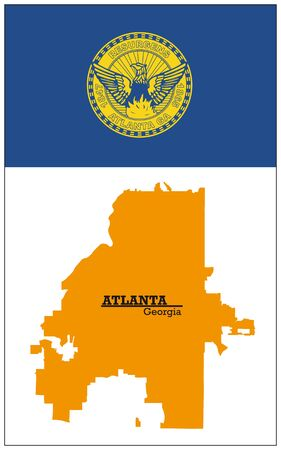 orange silhouette map of Atlanta with flag
