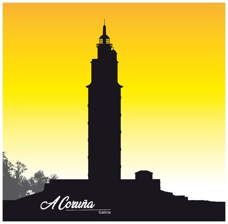 black and white silhouette Tower of Hercules in A Coruna Galicia Spain